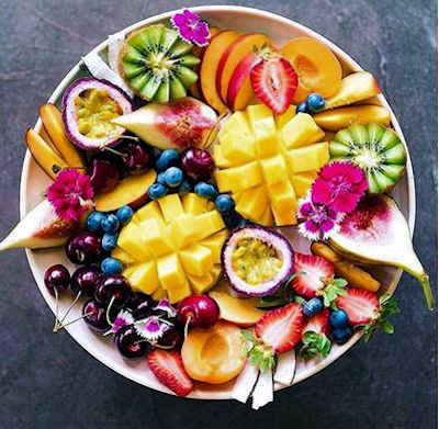 Nutritious healthy bowl of fruit